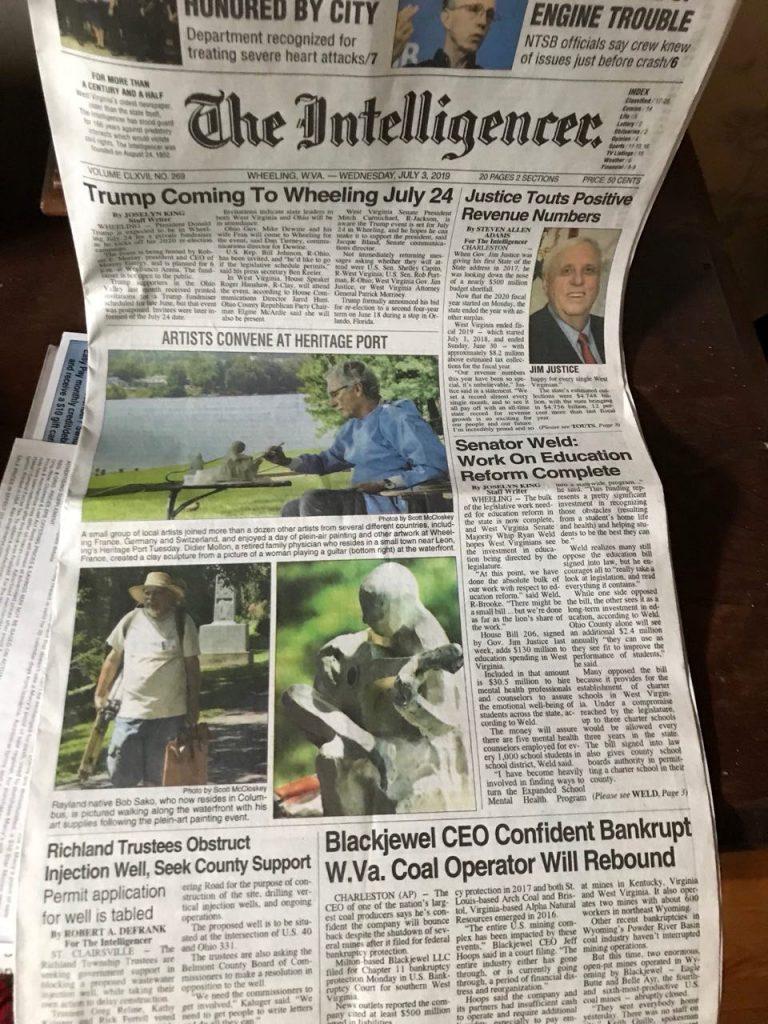 Première page du journal à Wheeling (West Virginia USA)  J.de.P juillet 2019